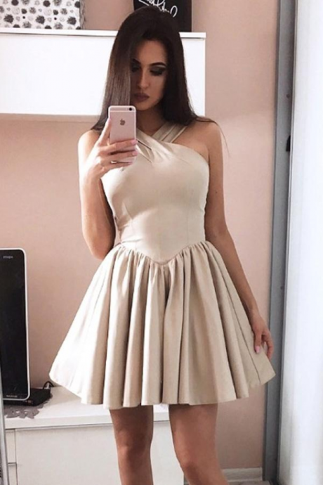 Halter X Neck Strapless Homecoming Dress,Sexy Short Prom Dress