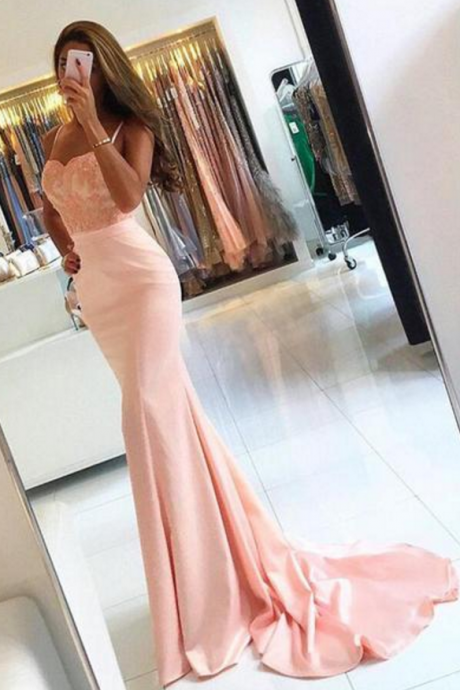 Spaghetti Strap Sweetheart Lace Top Mermaid Prom Dress,Pink Long Bridesmaids Dresses