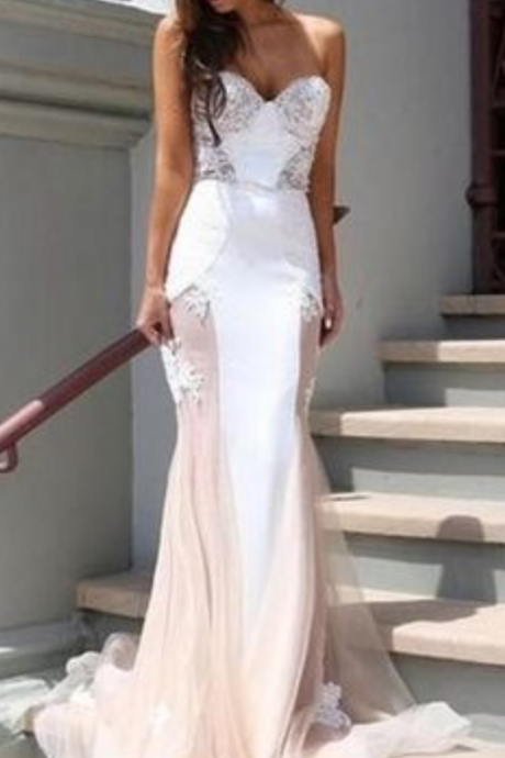 elegant strapless white wedding dress,mermaid evening dress,prom dress