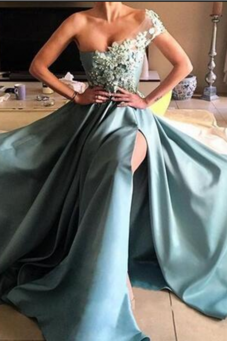 One Shoulder Cheap Prom Dresses Long Appliques Formal Gowns, A Line Satin Side Split Evening Dress,Evening Dresses,Party Dresses,Fashion Prom Dress,P1219