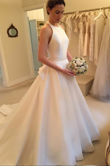 Modern Wedding Dresses,Halter Bridal Dresses, Satin Wedding Dresses,A-line Wedding Dresses