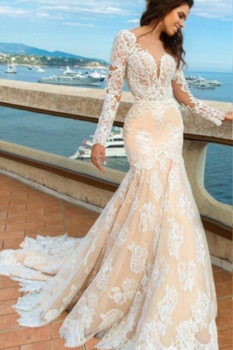Champagne Long Sleeve Appliques Open Back Mermaid Lace Wedding Dresses