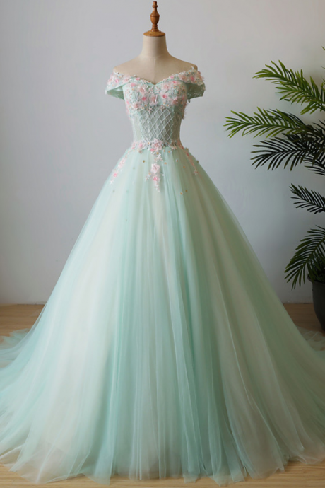 Elegant applique wedding dress off the shoulder beading long prom dress tulle evening dress