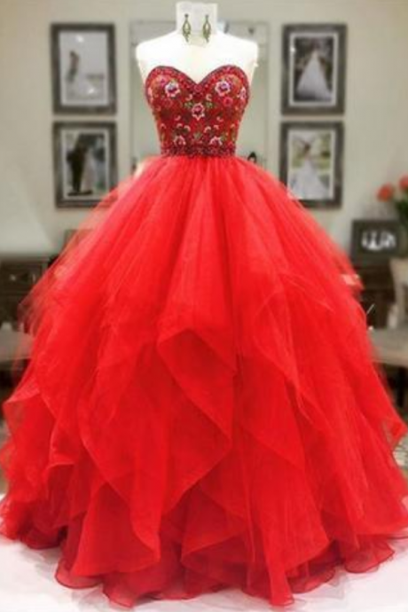 Sweetheart Beaded Long Prom Dress, Elegant Tulle Prom Dress, Evening Party Dress, Formal Dresses