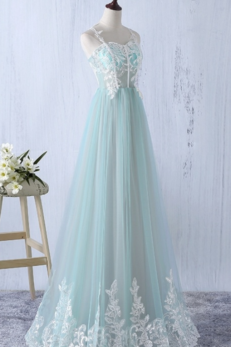 Spaghetti Straps Long Lace Tulle Prom Dresses For Teens,Elegant Graduation Dresses,Flowy Prom Gowns