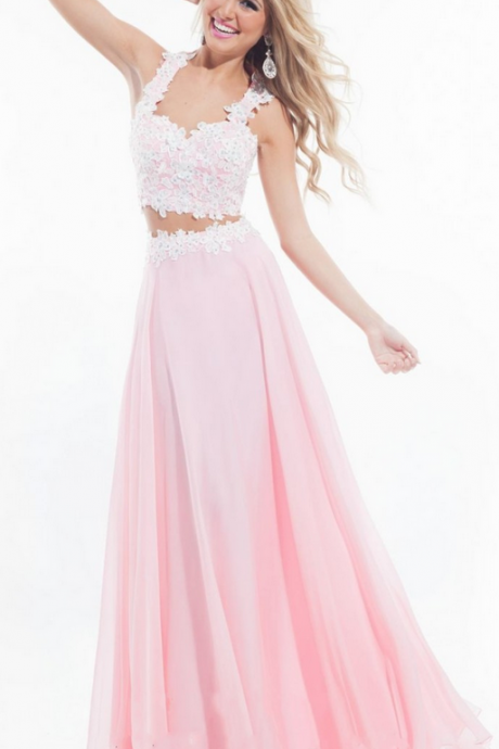 Pink Yellow Prom Dress, Two Pieces Prom Dress, Sexy Prom Dress, Chiffon Prom Dress, Inexpensive Prom Dress, Pretty Prom Dress