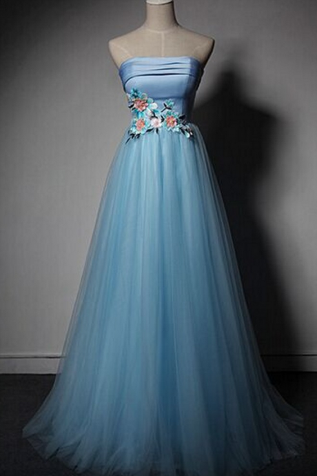 Blue Tulle Sweetheart Evening Gown With Flowers