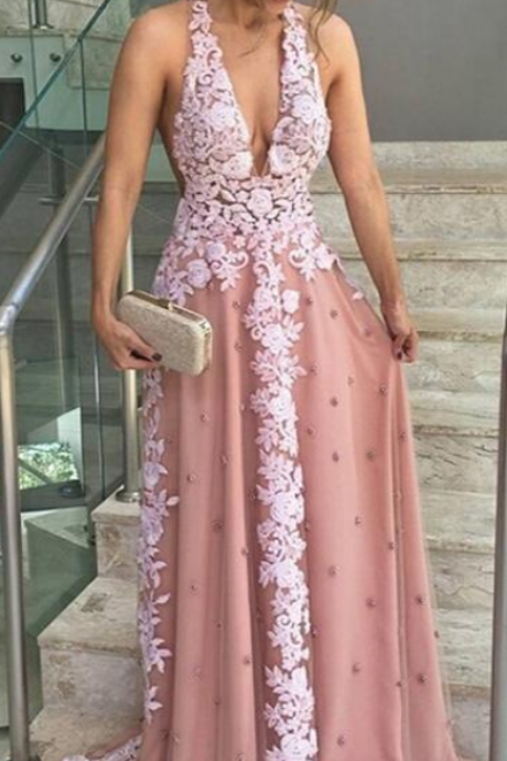 A-line Halter Floor-length Sleeveless Tulle Prom Dress/Evening Dress