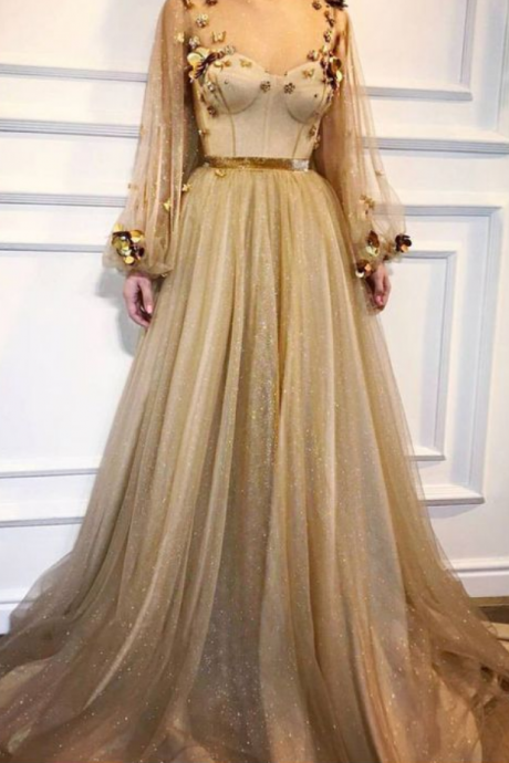 CHIC A-LINE SCOOP PROM DRESSES WITH SLEEVE GOLD LONG PROM DRESS EVENING DRESSES