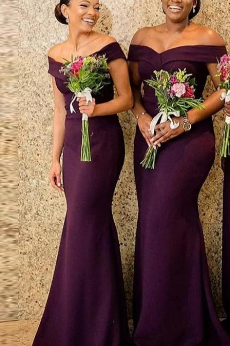 Cheap Purple Mermaid Bridesmaid Dresses Off the Shoulder Satin Long Prom Wear Sweep Train Country Maid of Honor Gowns