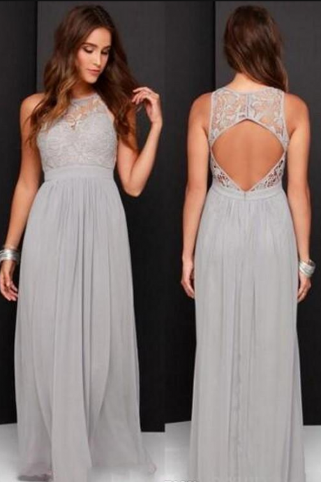 Country Grey Bridesmaid Dresses for Wedding Long Chiffon A-Line Backless Formal Dresses Party Lace Modest Maid Of Honor Dress