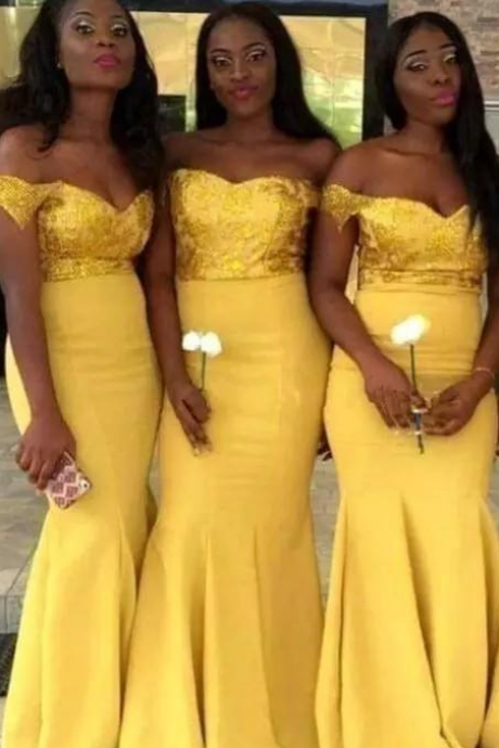 New African Yellow Cheap Mermaid Bridesmaid Dresses Off Shoulder Sequined Satin Wedding Party Gowns Formal Gowns Maid Of Honor Dress