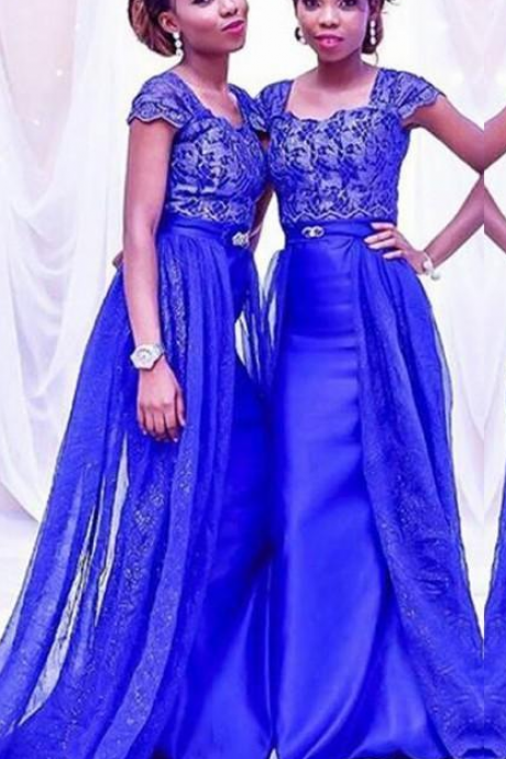 Gorgeous Royal Blue Bridesmaid Dresses South African Lace Cap Sleeves Maid Of Honor Gowns Satin Mermaid Overskirts Bridesmaid Dress