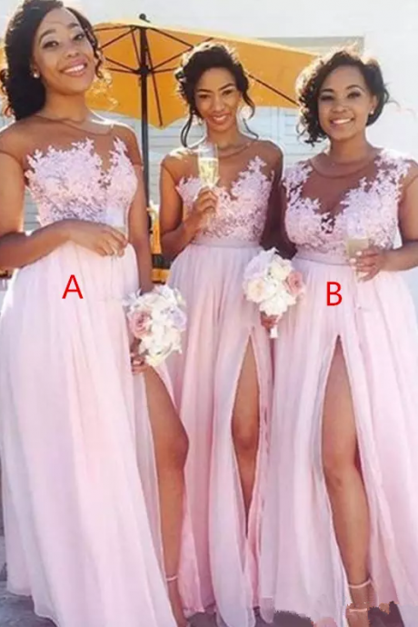 Cheap Country blush pink bridesmaid dresses Sexy sheer Jewel neck lace appliques maid of honor dresses split formal evening gowns wear