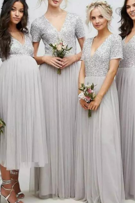Sparkly Sequins Bridesmaid Dresses V Neck Short Sleeves Silver Wedding Guest Wear Floor Length Vestidos Plus Size Maid Of Honor Cheap