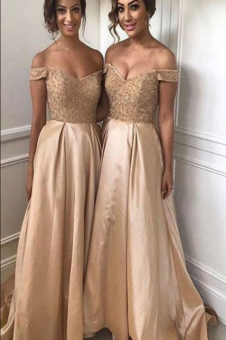 Gold Bridesmaid Dresses Off the Shoulder Beaded Lace Sweep Train A line Prom Gowns for Wedding Party Custom Made