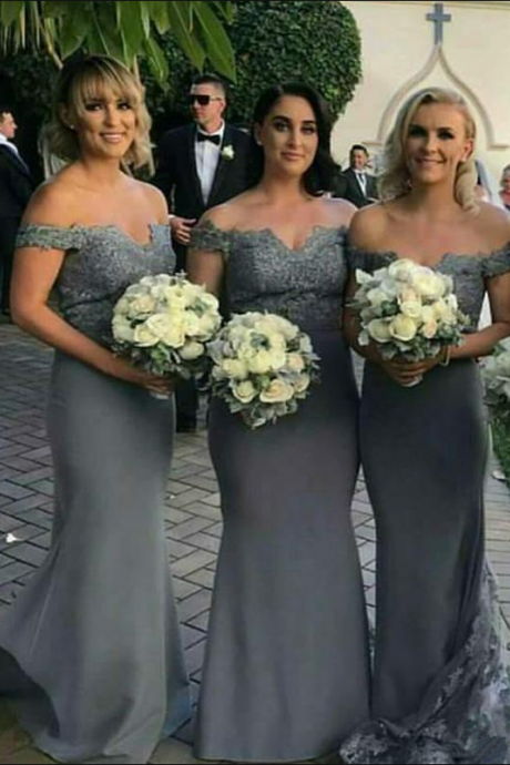 Silver Long Chiffon Bridesmaid's Dresses With Lace Off Shoulder Cao Sleeve Mermaid Wedding Party Dress Bridesmaid Dresses Online