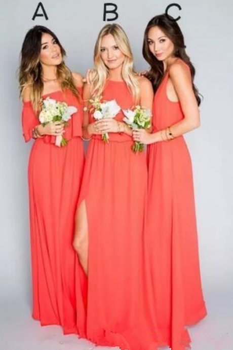 Free Shipping Elegant Coral Bridesmaid Dresses Chiffon Floor Length Boho Party Dress for Beach Country Wedding Plus Size Custom Made