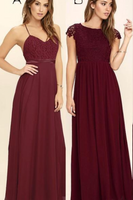 Mixed Style Beach Bridesmaid Dresses Appliques Chiffon Burgundy Long Wedding Guest Wear Vestidos Backless Plus Size Maid Of Honor Cheap
