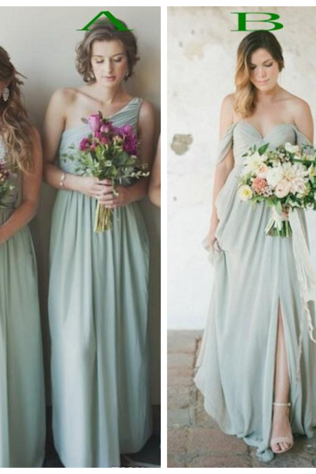 Mint Green Charming Bridesmaid Dress Mixed Neckline Chiffon Sleeveless Wedding Guest Wear Floor Length Vestidos Plus Size Maid Of Honor