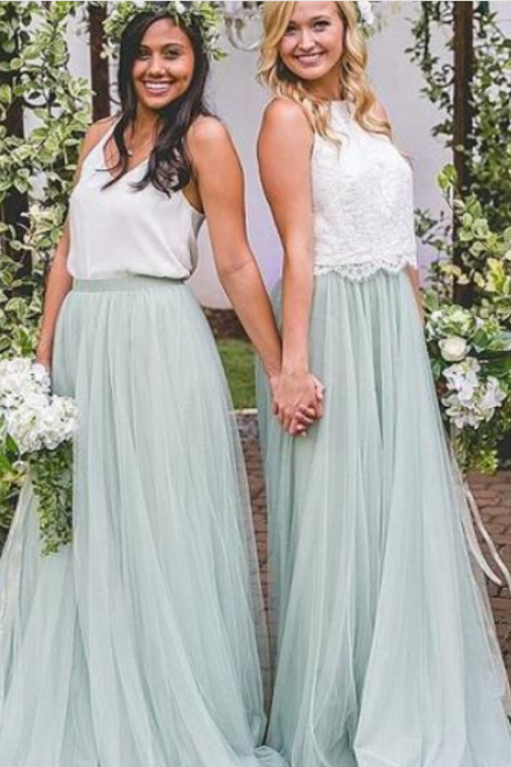 Bohemian Country Bridesmaid Dresses Cheap White Top Mint Sage Tulle Skirt Two Pieces Maid Of Honor Dresses Gowns Wedding Guest Dresses