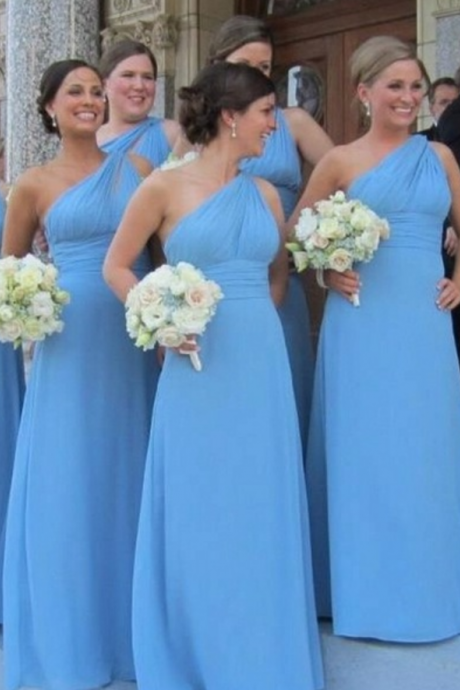 Blue Floor Length A-Line Chiffon Bridesmaid Dress Featuring One Shoulder