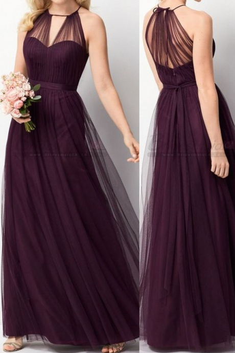 Grape Tulle Bridesmaid Dress,Vintage Tulle Wedding Party Dress