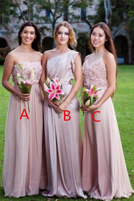 A-Line Sleeveless Pink Chiffon Bridesmaid Dress with Appliques