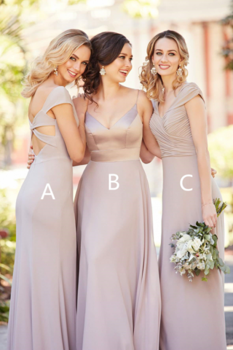 Chiffon Floor Length Bridesmaids Dress