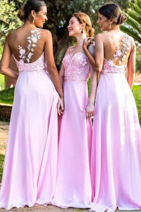 Popular A Line Pink Lace Romantic Cheap Long Wedding Bridesmaid Dresses