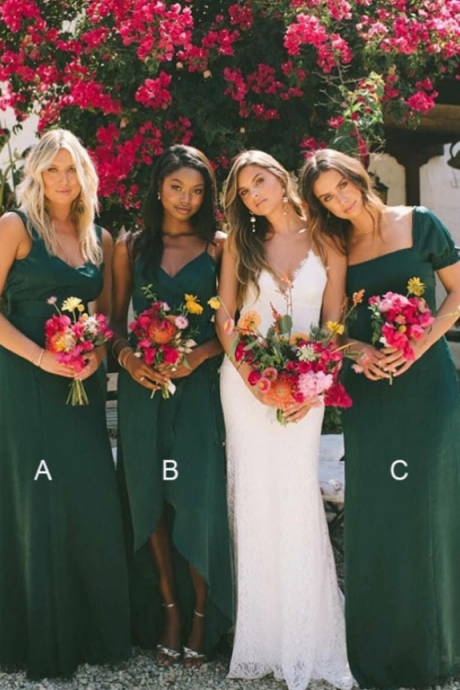 A-Line Mismatched Green Chiffon Long Bridesmaid Dresses