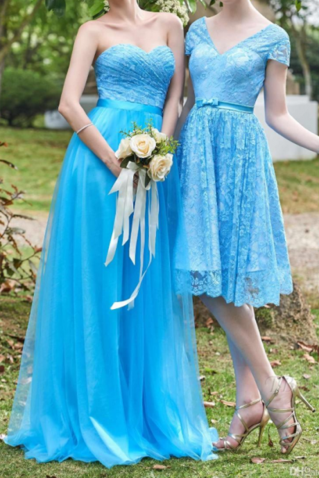 Ocean Blue Short Cap sleeves Bridesmaid Dresses Sweetheart Empire Long Plus Size Maid Of Honor Party Gowns Country Style Boho Party Dress