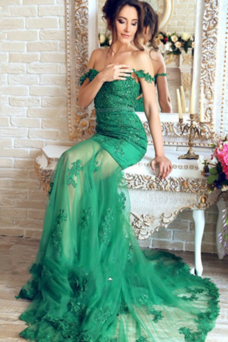 Beautiful Emerald Green Lace Mermaid Evening Dresses Robe De Soiree Longue Appliques Transparent Sexy prom Dress