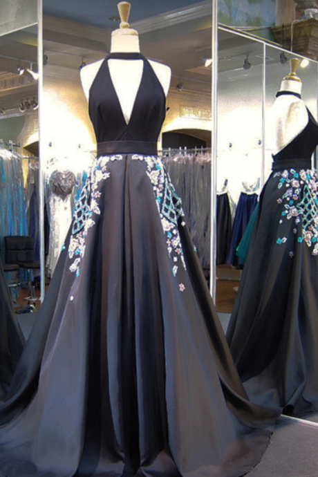 Backless Prom Dress,Halter Prom Dress,A Line Prom Dress,Fashion Prom Dress