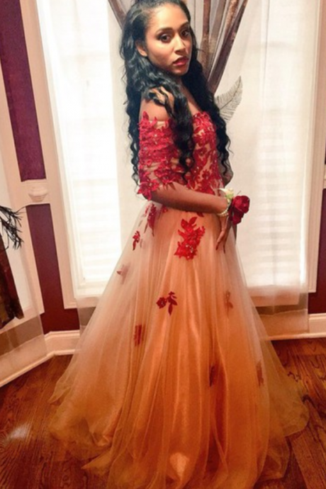 Fashion Prom Dresses,Champagne Prom Dress,Tulle Formal Gown,Red Prom Dresses,Lace Evening Gowns,Lace Formal Gown For Teens