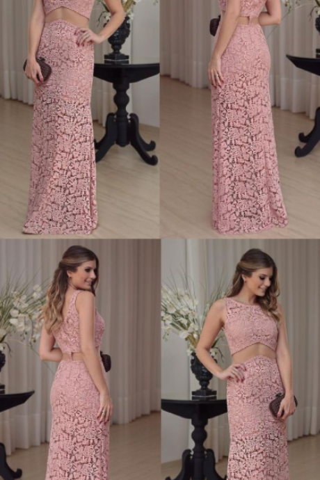 elegant pink lace prom party dresses, modest long evening gowns, mermaid 2 pieces formal dresses for special occasion