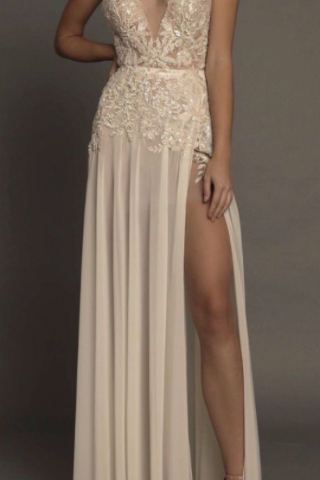 Sexy prom dress, v neck prom dress, side split prom dress,lace strap prom dress, evening dress, cheap prom dress