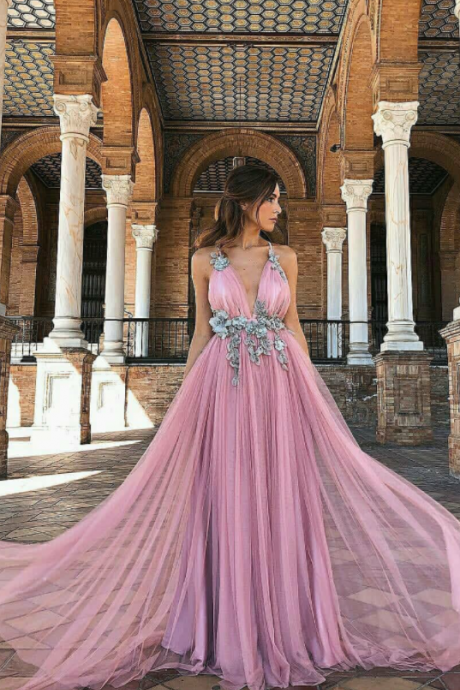 Deep v neck prom dress,tulle party dress,sexy evening dress