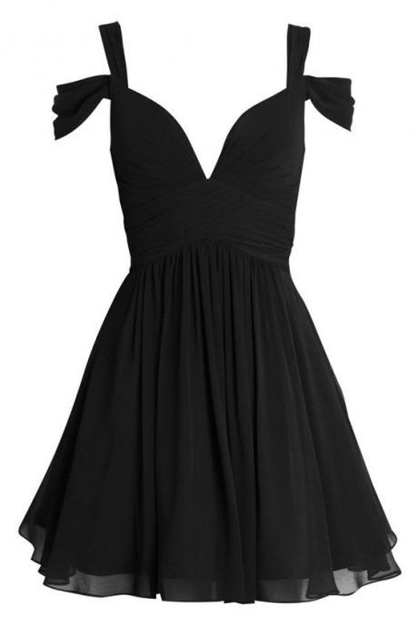 Custom Made Black Cold Shoulder A Line Mini Chiffon Short Evening Dress, Homecoming Dress, Cocktail Dresses, Graduation Dresses