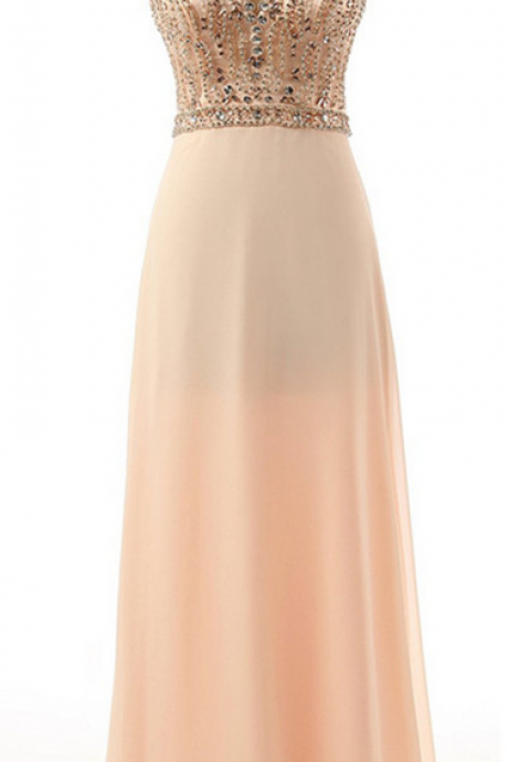 Champagne Floor-length Beaded Chiffon Dress with Illusion Scoop Neckline