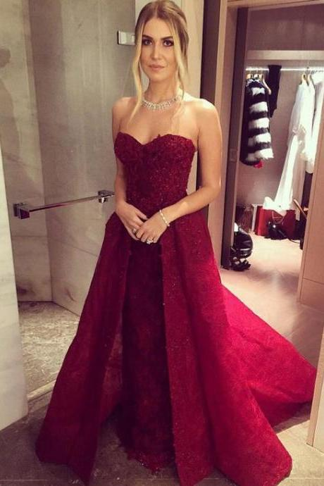 Custom Made Red Sweetheart Neckline Long Lace A- Line Evening Dress, Prom Dress, Wedding Dress, Bridesmaid Dresses