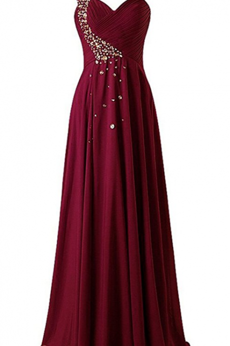 New Prom Gowns,Charming Evening Dress,Wine Prom Dresses,Burgundy Prom Gowns,Gold Evening Gown,One Shoulder Long Bridesmaid Prom Dresses Chiffon Evening Gowns