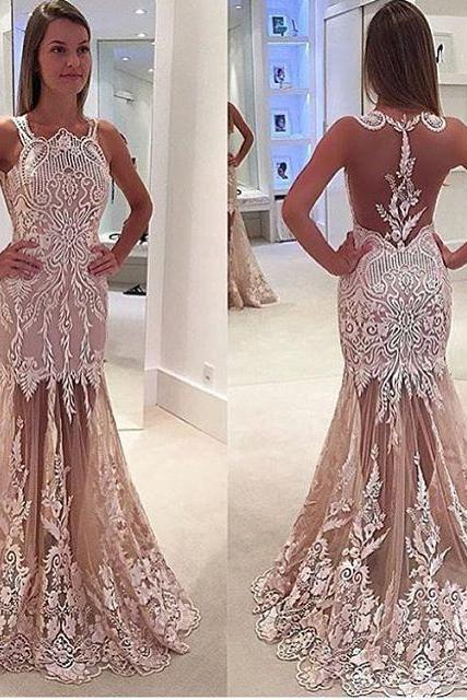 Newest Nude Appliques Prom Dresses, Sexy See Through Mermaid Prom Dresses, Prom Dresses, Popular Bridesmaid Dresses