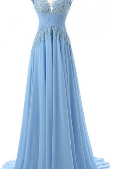 Sleeveless Bateau Neckline Chiffon Floor-length Dress featuring Sheer Lace Appliqué Bodice , Prom Dresses, Popular prom dresses