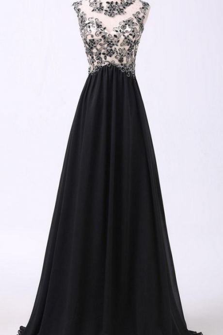 Black Lace Appliqué Chiffon A-line Long Prom Dress with Illusion Neckline, Prom Dresses, chiffon Popular prom dresses