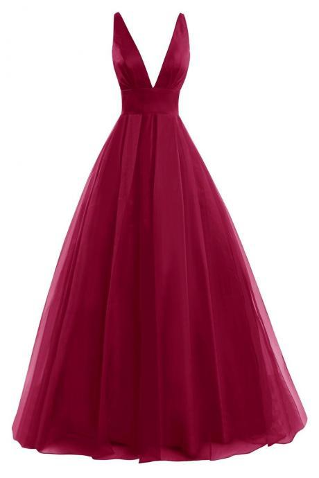 Plunge V Long A-Line Chiffon Evening Gown - Formal Gown, Prom Gown , Prom Dresses, chiffon prom dresses