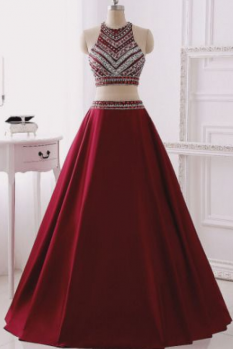 Long Two Pieces Prom Dress with Beaded Halter Neck Crop Top - Evening Dress , Prom Dresses, satin Popular prom dresses