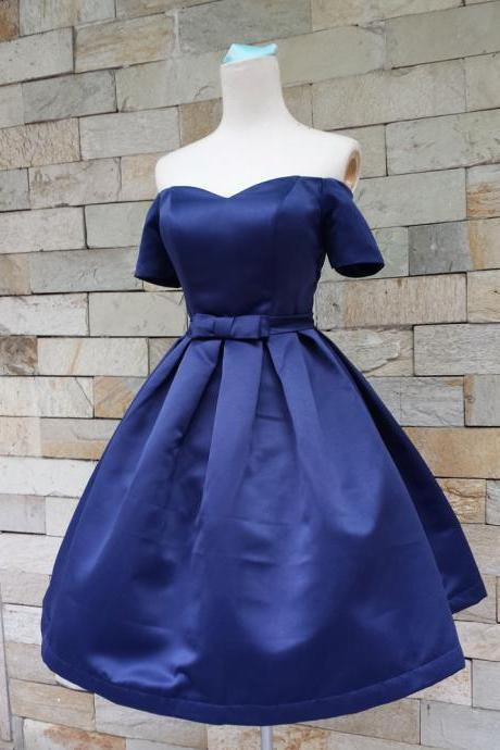 Royal Blue Off-The-Shoulder Sweetheart Neckline Short Homecoming Dress with Bow Accent, Homecoming Dresses, satin Homecoming dresses