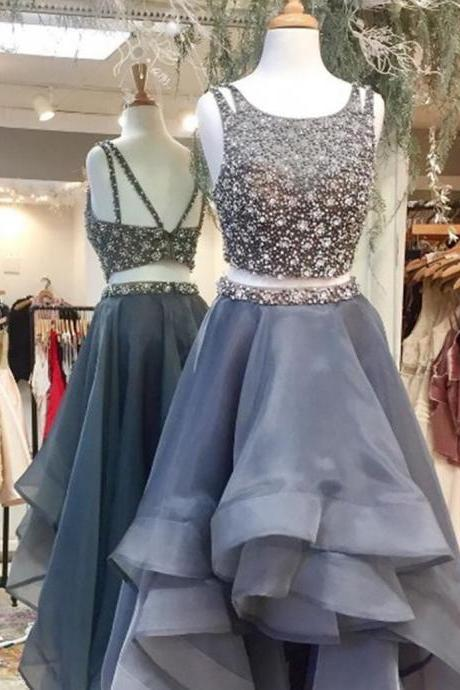 Charming Two Piece Scoop Sleeveless High Low Prom Dress Backless with Beading prom dresses