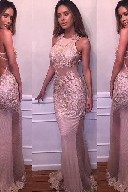 Delicate Prom Dress, Long Prom Dress, Backless Sexy Prom Dress, Mermaid Prom Dress, Retro Lace Appliques Prom Dress, Evening Formal Party Dresses
